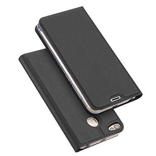 Funda® Ultra Delgado PU TPU Flip Folio Funda con Ranura y la Función Stand para Tarjeta para Xiaomi Redmi Note 5A Prime(Negro)