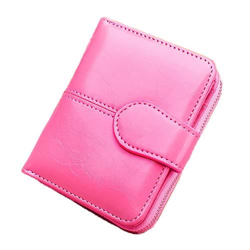 Eco Memos Cartera Pequeña para Mujer Monedero Plegable de Cuero con Ventana de Identificación RFID Bloqueo Cartera de Mano de Cuero Genuino (Rosa roja)