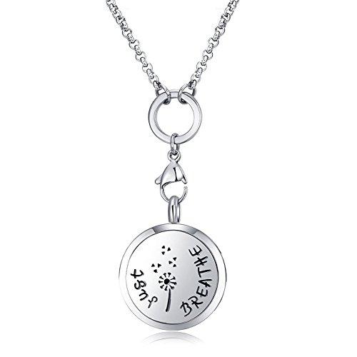 MESINYA Just Breathe (Medium) Aromatherapy/316L s.steel Essential Oils Diffuser Locket Necklace (Medium 25mm)