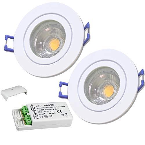 LED Bad Einbaustrahler 12V inkl. 2 x 5W LED LM Farbe Weiß IP44 LED Einbauleuchten Neptun Rund 3000K mit Trafo
