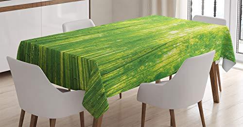 ABAKUHAUS Bambú Mantele, Plantas exóticas de Vida Silvestre, Estampado con la Última Tecnología Lavable Colores Firmes, 140 x 200 cm, Verde