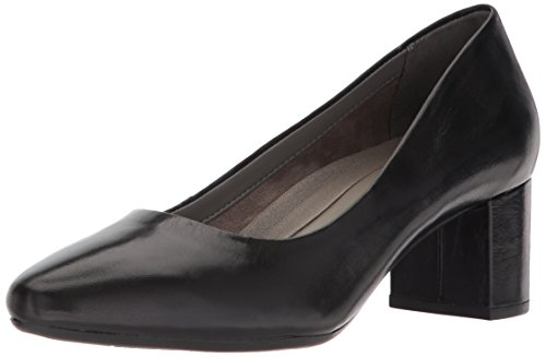 Aerosoles Women's Silver Star Pump, Black Leather, 8.5 M US