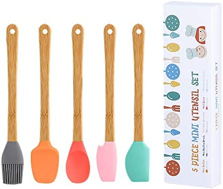 Silicone Spatula 5 Pack Mini Spatulas Scrapers with Bamboo Handle for Cooking Baking Nonstick product image