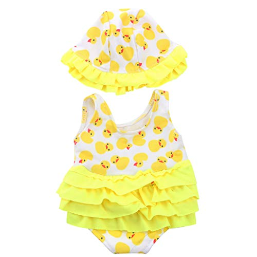 MagiDeal Schwimmset für 18 Zoll Puppen, Jumpsuit Badeanzug + Badekappe - Gelb