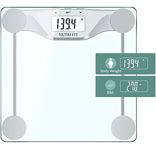 CAMRY Báscula de baño digital con IMC, plataforma grande de 30.2 * 30.2 cm, tecnología de apagado automático por pasos, 400 lb / 180 kg, vidrio templado de 8 mm y pantalla LCD grande