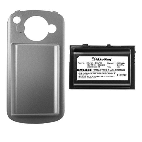 Akku-King Power-Akku kompatibel mit HTC P4500, T-Mobile MDA Vario 2, Vodafone v1605, O2 XDA Trion - ersetzt BTR6700, HERM160 - Li-Polymer 2400mAh - mit Akkudeckel - schwarz