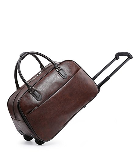 Craze London Ladies Travel Holdall Bags Hand Luggage Womens Leather Cabin Luggage Bag Design Weekend Wheeled Trolley Bags (Soft Coffee)