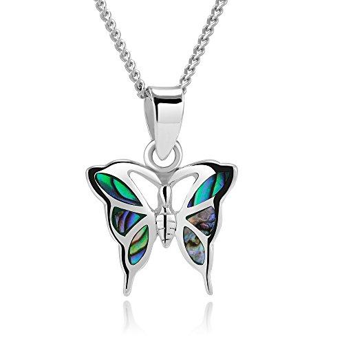 Halskette mit Schmetterlings-Anhänger, 925er Sterlingsilber, natürliche grüne Abalone-Muschel, 45,7 cm