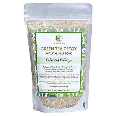 Green Tea Detox Infusion - Best Bath Sea Salt Mix - Rejuvenating Antioxidant - Balances and Relaxes The Body and Spirit from Harmony N More Co