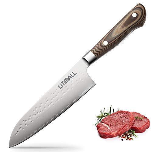 Litimall Damastmesser Küchenmesser, Damast Kochmesser Chefmesser 20cm Super Scharf Klinge mit Japanisch Damaststahl, Ergonomische Allzweck Messer, mit Geschenkbox (damast chefmesser)
