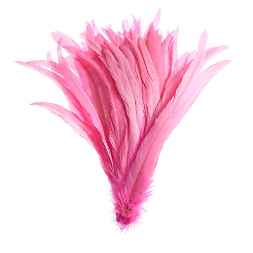 50PCS Rooster Coque Tail Feathers - 12-14inch Natural Tail Feather for Costume Wedding Theme Party Decoration(Pink)