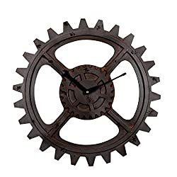 WEHOLY 20 Inch Creative Round Mute Gear Clock Arabic Numeral Wall Clock Industrial Wind Decoration Living Room Bedroom Bar (51cm) Creative (Color : Metallic)
