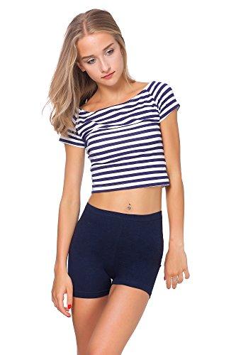 FUTURO FASHION® - Yoga-Shorts aus Baumwolle - super weich - kurz - elastisch - Größe 36-50 - PSL5 - Dunkelblau - 38