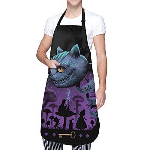 Alicia en el país de las maravillas Cheshire Cat Custom Adulto Delantal ajustable impermeable con bolsillo para hombres, mujeres y mujeres cocineros