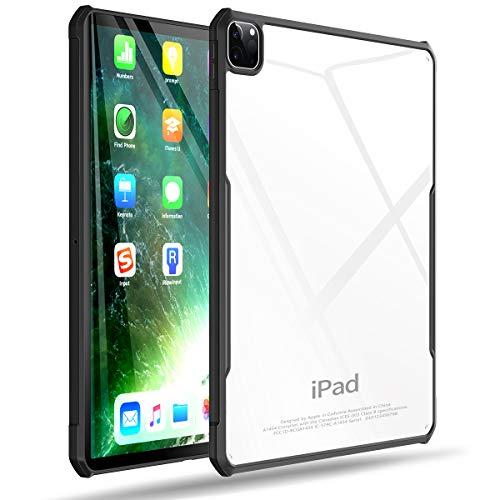 XUNDD Schutzhülle für iPad Pro 32,9 cm (12,9 Zoll), 4. Generation 2020/2018, ultradünn, transparent, stoßdämpfend, weiche TPU-Kantenschutz [unterstützt Apple Pencil Pairing/Charging] – Schwarz