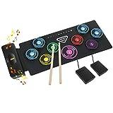 Elektronisches Schlagzeug Kit 9 Pads Tragbare Roll Up Midi Tabletop E-Drum Schlagzeug Set mit Eingebautem Lautsprecher Drum DTX Fußpedal...