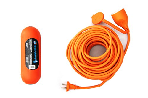 Electraline 92197 Kit Prolunga Giardino, 20 Mt, Presa Universale, Arancione + Scatola di Protezione Stagna