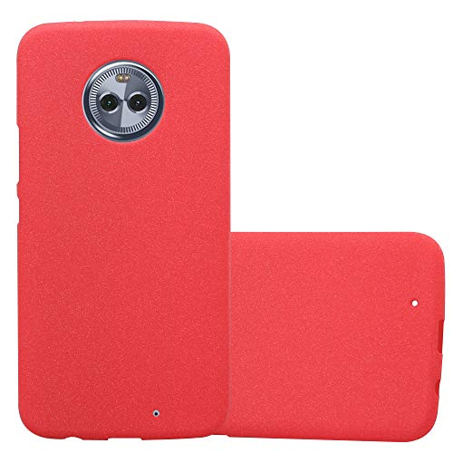 Cadorabo Hülle für Motorola Moto X4 - Hülle in Frost ROT – Handyhülle aus TPU Silikon im matten Frosted Design - Silikonhülle Schutzhülle Ultra Slim Soft Back Cover Case Bumper