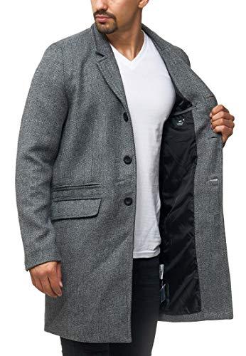 Indicode Herren Ilchester Wollmantel mit Stehkragen einfarbig, melliert oder im Tweed Karo-Muster | Herrenmantel Wintermantel Lange Übergangsjacke Winterjacke Mantel für Männer Grey Mix S