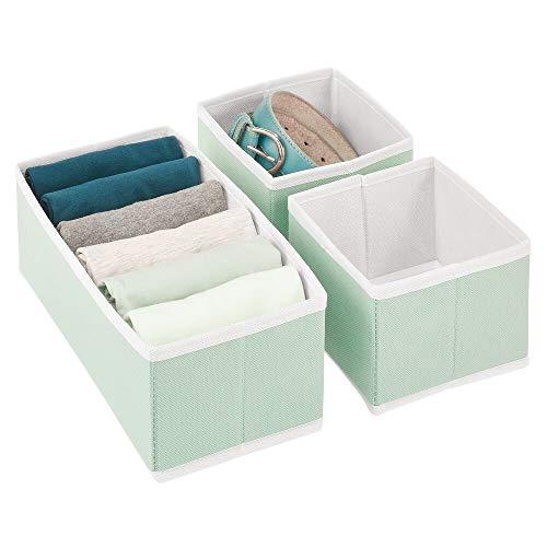 mDesign Juego de 3 Cajas organizadoras – Cestas de Tela de Diferentes tamaños para cajones – Organizadores para armarios para Guardar Calcetines, Ropa Interior y más – Verde Menta/Blanco