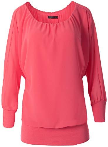 FASHION YOU WANT Damen Oversize Oberteile Tshirt/Pullover Uni Übergrößen Shirt Langarm (pink, 42/44)