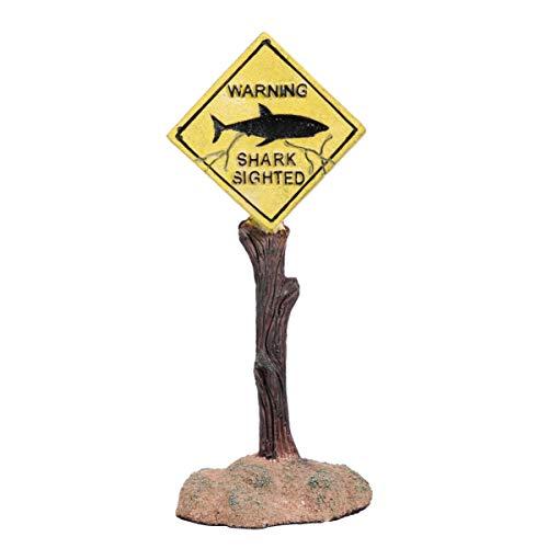 Balacoo Acuario Adornos Divertidos Señales de Advertencia de Tiburones Pecera Decoración de Resina Artesanía Decoración del Paisaje para Acuario Pecera Hogar