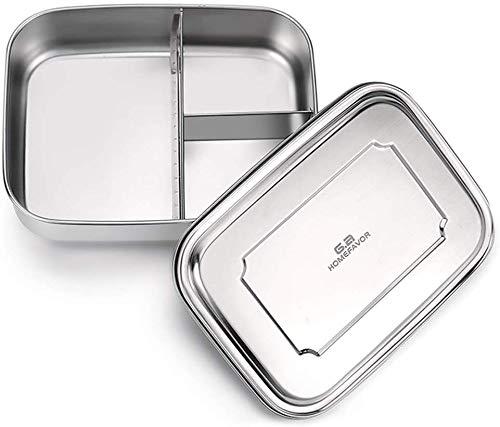 GA Homefavor ¨C Bento Box in Acciaio Inox, Contenitore per Il Pranzo con Tre Scompartimenti, di Grandi Dimensioni