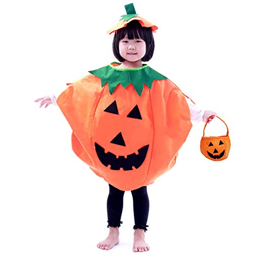 Halloween 3PC Pumpkin Costume for Kids Children Cosplay Party Clothes (Orange)