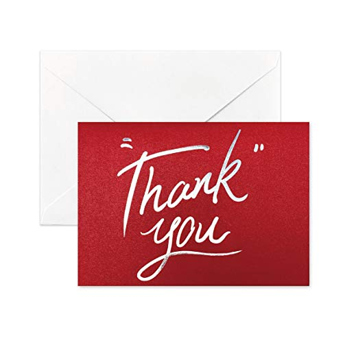 Desecraft 10 Red Shimmer Notecards with Silver Foiled and Envelopes Set Blank Thank You Cards Folded 3.62'x 5.12' Stationary Card for Valentine's Day Wedding Greeting Gift Bridal Showers