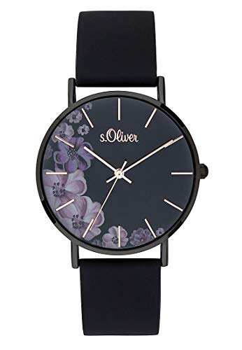 s.Oliver Damen Analog Quarz Armbanduhr mit Silikonarmband SO-3708-PQ