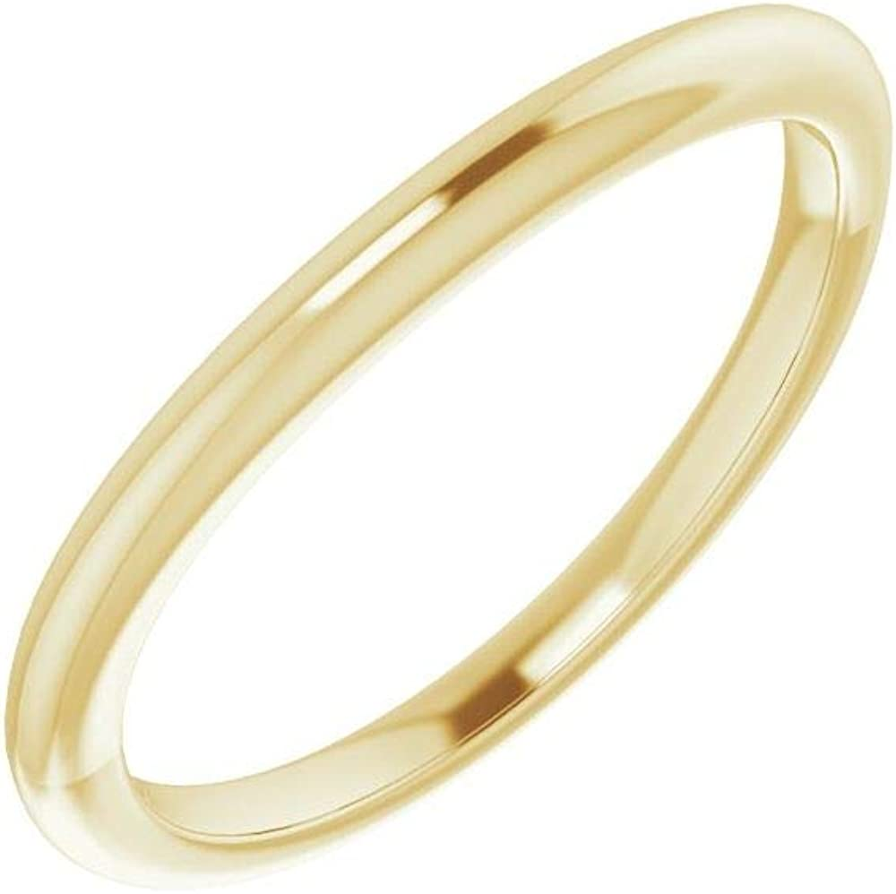 Solid 10K Yellow Gold Curved Notched Wedding Band for 7 x 5mm Oval Ring Guard Enhancer - Size 7