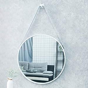 ウォールミラー 壁掛け 鏡 Wall Mirror バスルーム 北欧のシンプルなバスルームミラー、壁掛けベッドルームラウンドミラー、ファッション浴室デコレーション - 50CM 壁掛けミラー (Color : White)