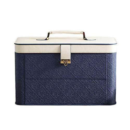 Cas cosmétique Portable Grande capacité Multi-Couche ménage cosmétique Sac cosmétique boîte de Rangement boîte de Rangement avec Miroir (Color : Blue, Taille : 36.5 * 18.5 * 22cm)