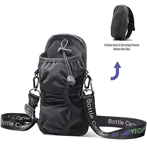 Portable Water Bottle Holder (Instantly Folded into Pouch Not Use For Carry),Bottle Carrier with Detachable Adjustable Shoulder Strap, Water Bottle Sling Bag with Carabineer for Outdoor-Black