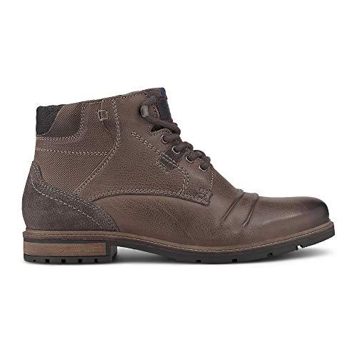 Cox Herren Schnür-Boots aus Leder, Halbschuhe in Grau im Vintage-Look mit hoher Schnürung und Profil-Laufsohle Grau Glattleder 43