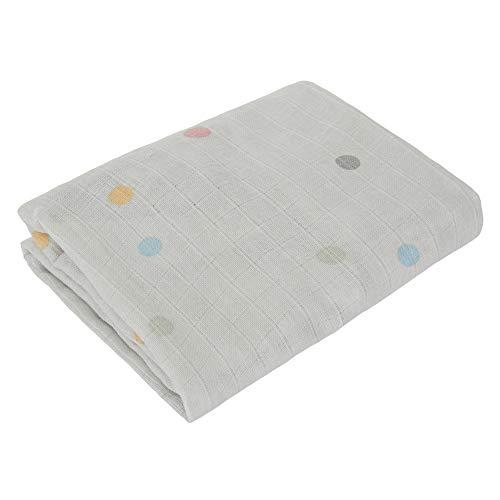 Kindsgut Musselin Spannbettlaken aus 100% OEKO-TEX zertifizierter Baumwolle für Babys und Klein-Kinder, 120 x 60 cm, kuschelig weich für das Baby- und Kinder-Bett, Reinigung bei 40 Grad, Punkte