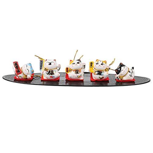 PRETYZOOM Miniatur Glückskatze Figur Maneki Neko Winkenden Arm Glückskatze Statue für Kuchen Topper Pflanze Automobil Mikro Landschaft Dekoration (Farbe 2)