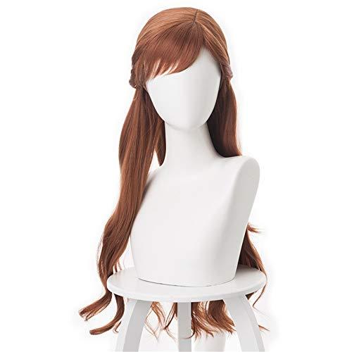 Xiaojie Frozen 2 Princesa Anna Brown lado trenzado largo rizado Cos peluca