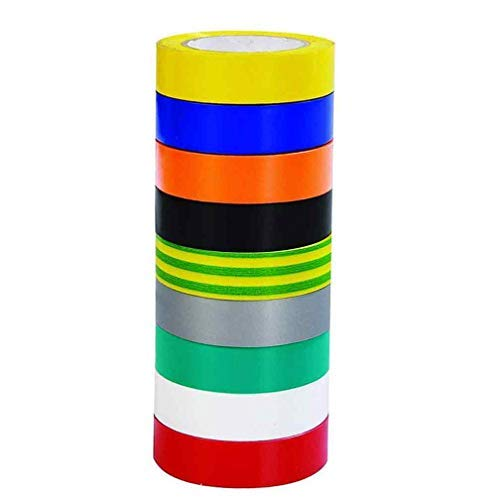 Isolierband, 9 Stück, 9 Farben, 0,67 Zoll, 20 m, PVC-Isolierband, 22,5 m