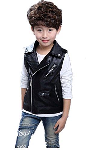 Fashion Faux leather Motorcycle Dress Casual Boys or Girls Joker Vest,Black,130(6-7T)