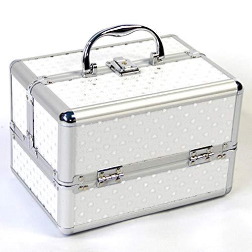 Mallette Maquillage Beauty Case Valise Maquillage Coffret cosmétique Boîte à Maquillage avec et clé Coffrets (Couleur : Silver)