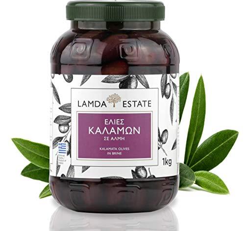 Oliven Kalamata 1 KG natur mit Stein, eingelegt in Salzlake | griechische schwarze Oliven ungeschwärzt