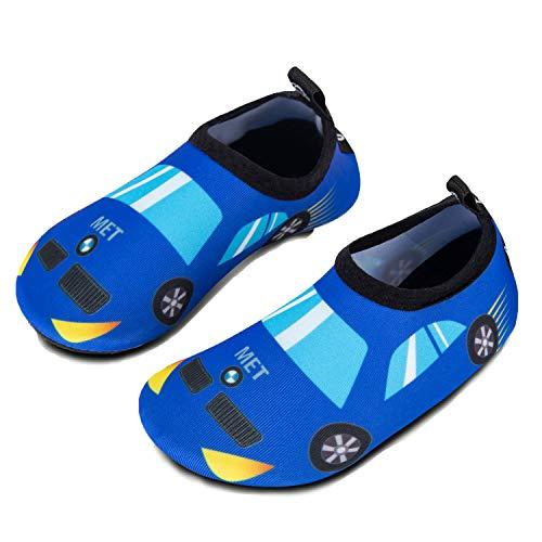 IceUnicorn Kinder Strandschuhe Jungen Mädchen Schwimmschuhe Aqua Schuhe Baby Badeschuhe für Beach Pool Surfen Yoga Unisex(Auto, 18/19EU)