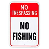 Large No Fishing Sign, 18'x 12' .04' Aluminum Reflective Sign Rust Free Aluminum-UV Protected and Weatherproof