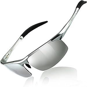 DUCO スポーツサングラス メンズ 偏光サングラス シルバー UV400保護 AL-MG合金 超軽量 運転/自転車/釣り/野球/スキー/ランニング/ゴルフ用 8177S