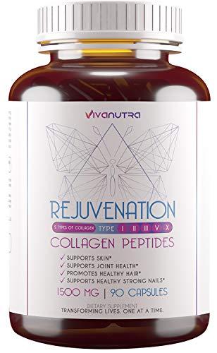 Multi Collagen Pills (Types I, II, III, V & X) - 90 Collagen Peptides Capsules - Pure Hydrolyzed Collagen Protein Supplement Marine Collagen & Grass Fed Colageno hidrolizado Peptides for Women & Men