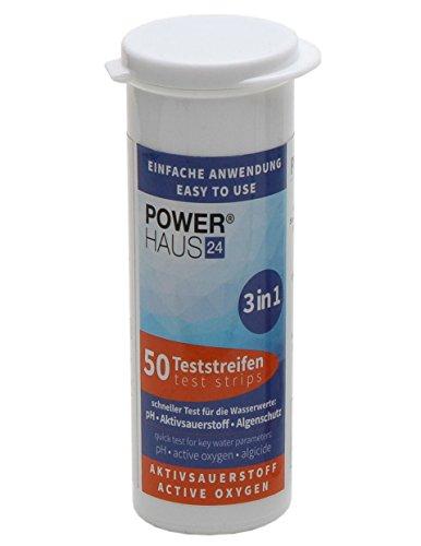 POWERHAUS24 50 Teststäbchen 3 in 1 Teststreifen Teststrips für Aktivsauerstoff, pH Wert und Algenschutz, für Pool und Whirlpool