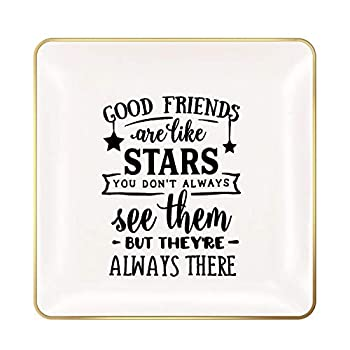 ANIKAY Good Friends Birthday Gifts for Women Ring Trinket Dish-Good Friends are Like Stars - You Don t Always See Them But They re Always There