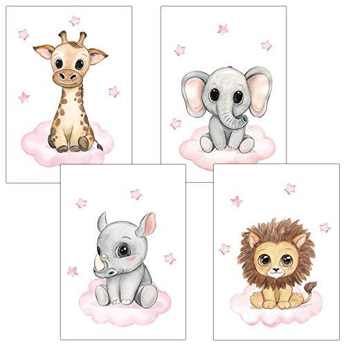 Frechdax® Kinderzimmer Deko 4er Set Poster Baby Wandbilder DIN A4 | Waldtiere Safari Afrika Tiere Tierposter (4er Set Rosa, Safari, Wolke, Sterne)