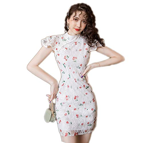 Skirts 2021 Women Sweet Cherry Print Bodycon Mini Sexy Elegant Dress Lady Casual Cheongsam Lace Dress albaricoque M